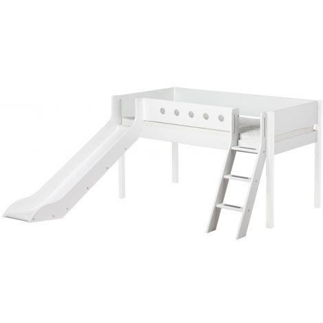Liumäega ja kaldredeliga poolkõrge voodi Flexa White